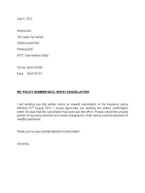 contoh surat pembatalan polisi insurans