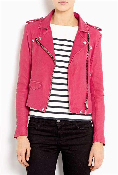 pink leather motorcycle jacket iro ashville leather biker jacket in pink lyst