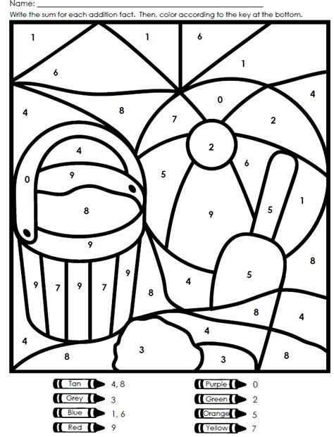 kindergarten color by number worksheets az coloring pages