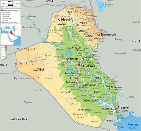 map of iraq physical map of iraq ezilon maps