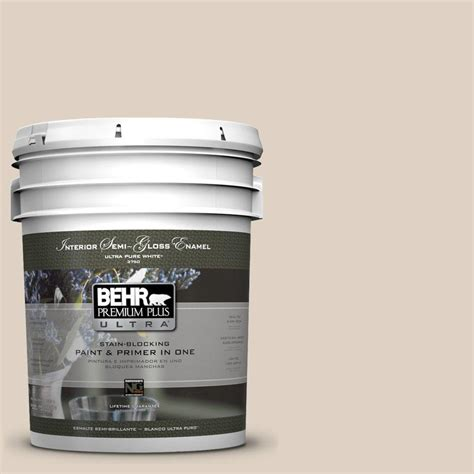 behr premium plus ultra 5 gal pwn 42 parisian taupe semi gloss enamel interior paint 375005