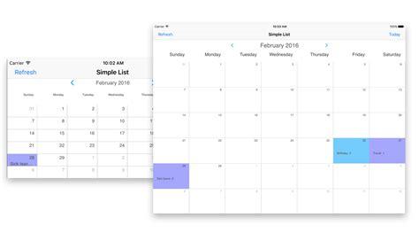 Calendar Api Ios Ios Calendar View Intersoft Crosslight Intersoft
