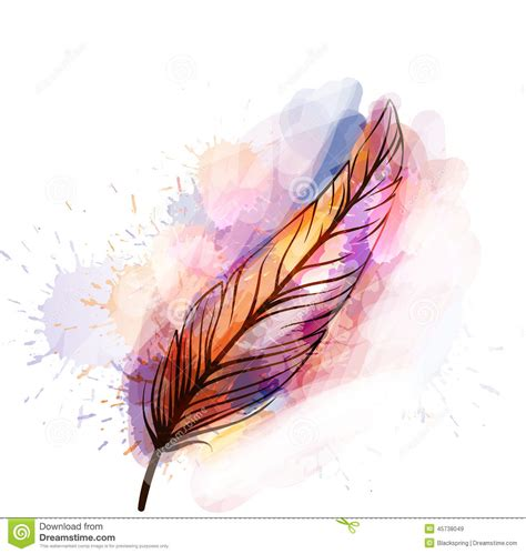watercolor grunge feather stock vector image of sketch