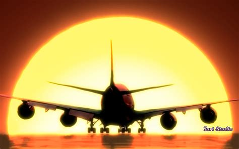 airplane sunset landing screensaver amp animated desktop