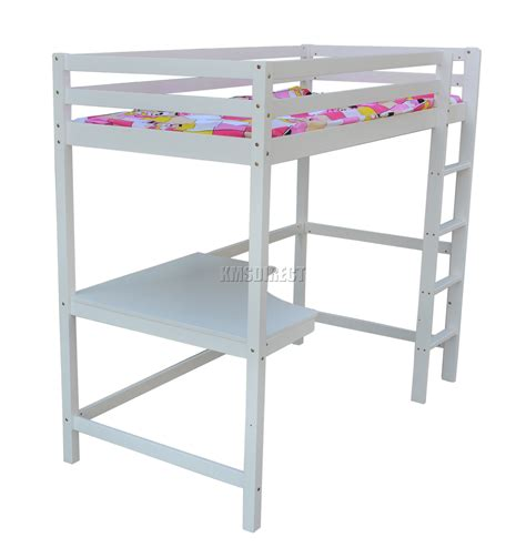 Wood Bunk Bed With Desk Foxhunter High Sleeper Cabin Wooden Bunk Bed With Desk Single 3ft White New Ebay