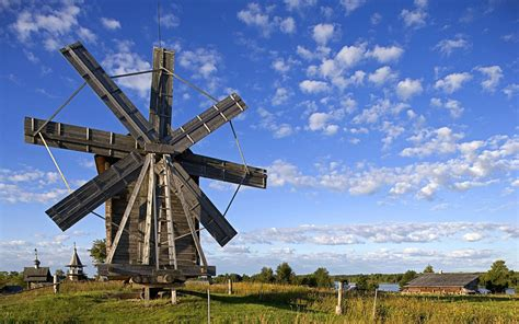 Windmill Sheds by Wood Windmill Karelia Russia 1920 X 1200 Locality