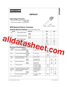 transistor ksp 42 ksp42bu datasheet pdf fairchild semiconductor