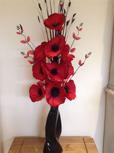 silk flower arrangements fake flower bouquets shop beautiful red artificial poppies flower arrangement with