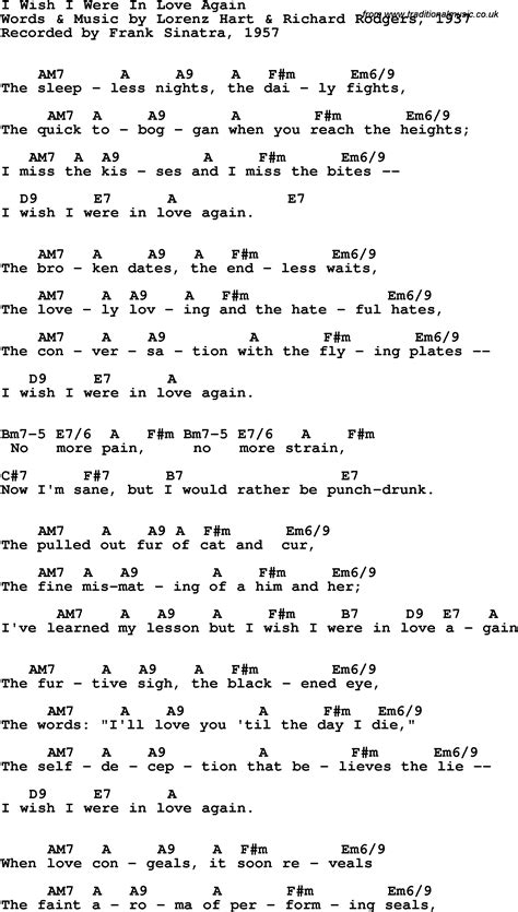 lyrics frank sinatra song lyrics with guitar chords for i wish i were in