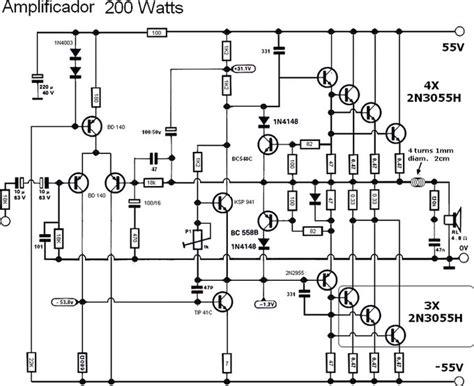 2n3055 transistor lifier schematic 200 220w lifier 2n3055