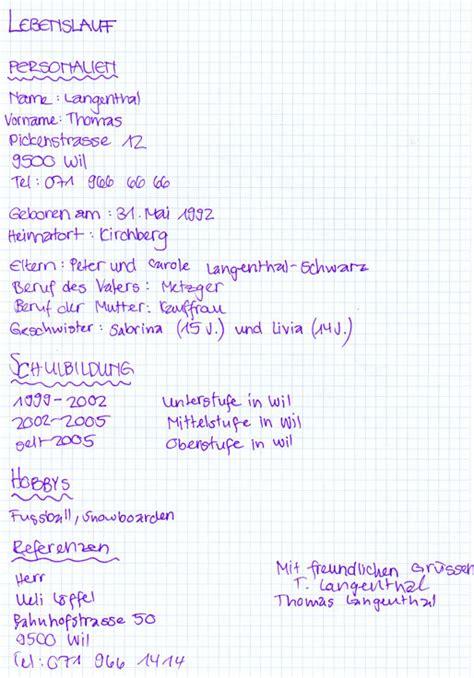 Lebenslauf Muster Handschriftlich Bewerbungsschreiben