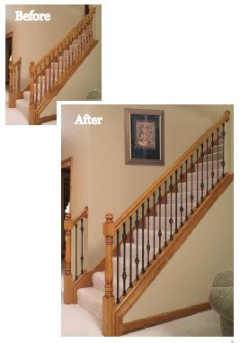 replace banister and spindles replacing wood balusters with iron balusters