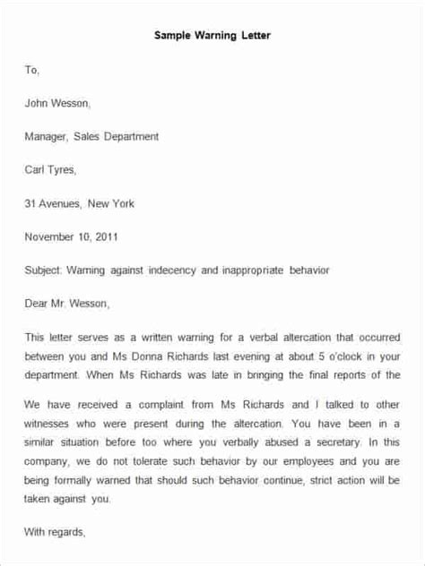 Official Warning Letter Template Speeding Sle Warning Letter Template Docoments Ojazlink