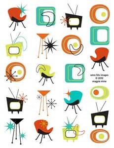 50s Design by Mid Century Designs Retro Collage Sheet 1950s 1960s