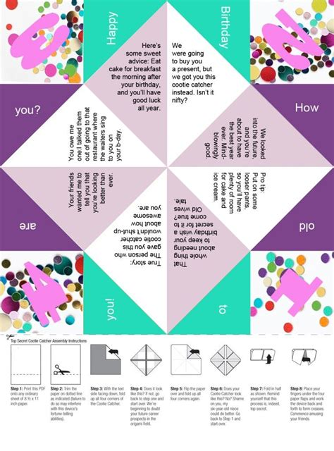 Template For Fortune Teller Card by Free Printable A Confetti Birthday Paper Fortune Teller