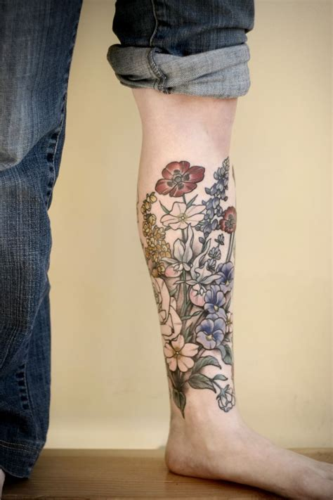 flower leg tattoo flowery shin pairodicetattoos great tattoos