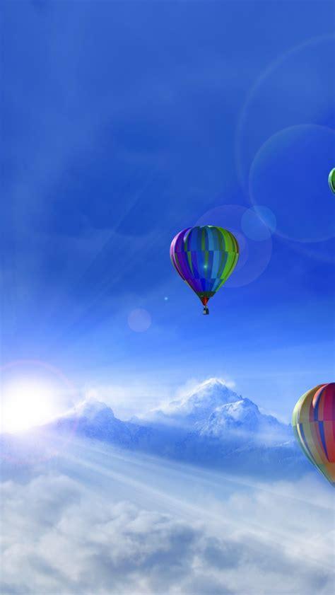 wallpaper sunny day hot air balloons winter mountains
