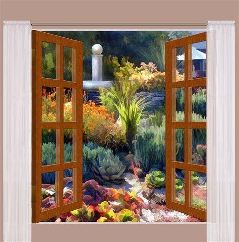 window view southwest cactus garden painting  elaine plesser