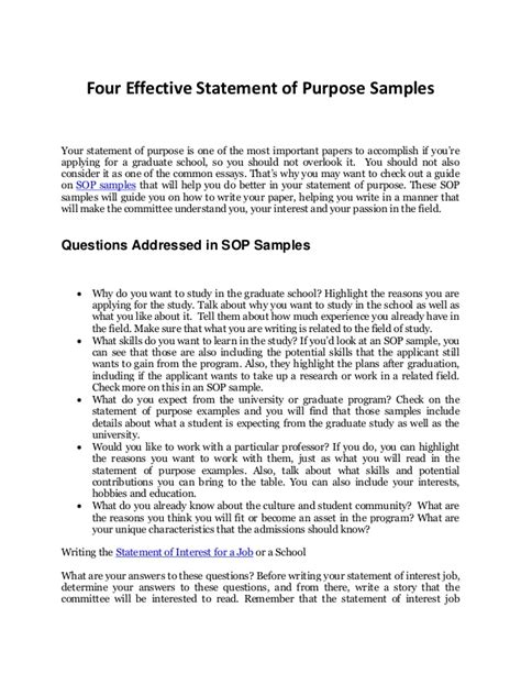 Sle Sop For Mba Pdf by How To Write An Effective Personal Statement With Sop Sles