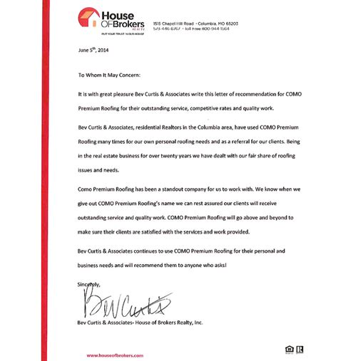 Siding Installer Cover Letter by Cbor Letter Of Recommendation Missouri Como Premium Exteriors Roofing And Siding Columbia Mo