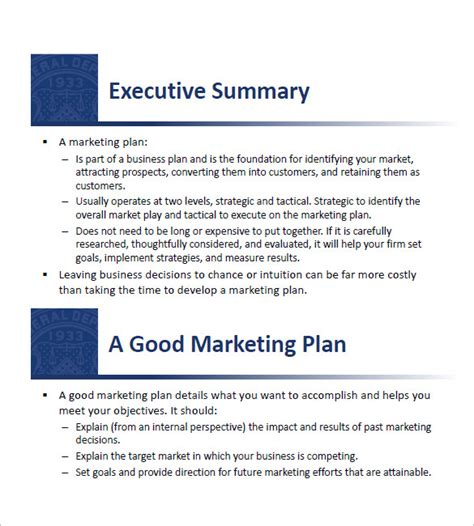marketing business plan template small business marketing plan template 13 free sle