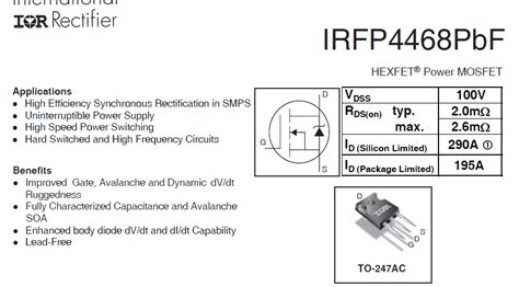 Irfp4468 100v 195a Single N Channel Hexfet Power Mosfet To 247 Mosfet Irfp4468 Servicecloudfiles