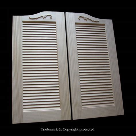 wooden swinging doors large pine cafe doors louvered 3 8 scroll 44 quot swinging