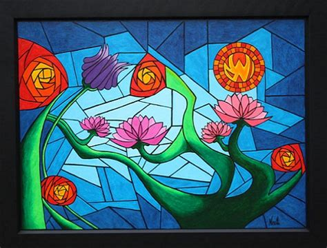 abstract floral glass painting   Easyday