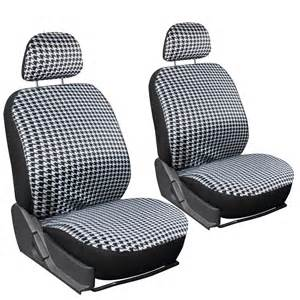 Car Seat Cover In Cloth 6pc Houndstooth Detachable Low Back Front Car Seat