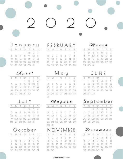 year   glance calendar  pretty   printable
