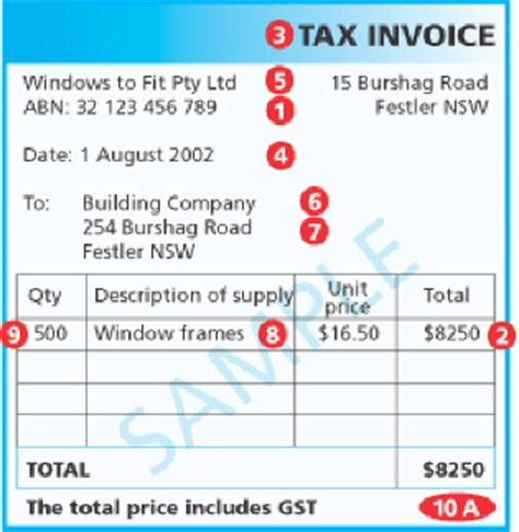 abn tax invoice template handling australian gst requirements for payables