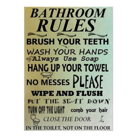 bathroom rules art bathroom rules subway art poster zazzle