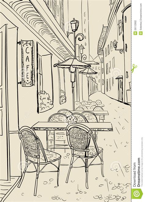 street sketchbook street graphics 0500513627 street cafe sketch illustration stock photography image 26112902