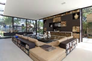 outdoor indoor living room with bookshelves interior beautiful attic apartment filled with positive energy