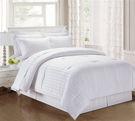 3 piece damask stripe 500 thread count cotton comforter