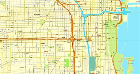 chicago map pdf chicago illinois us vector map adobe illustrator