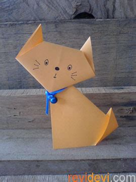Paper Folding Cat - free craft tutorials revidevi