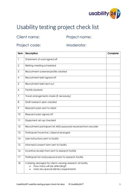 Usability Testing Project Checklist Usability247 Usability Testing Template