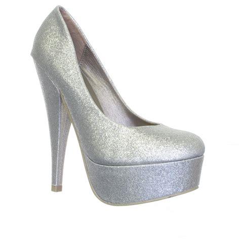 silver metallic high heel shoes womens silver metallic glitter high heel platform