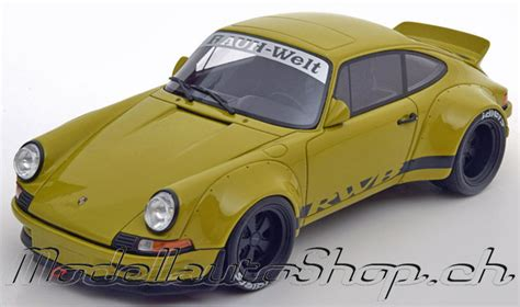 rwb porsche yellow modellauto shop porsche 911 930 rwb yellowgreen 1 18