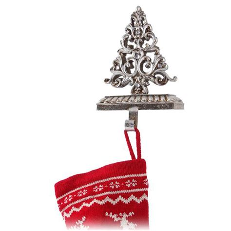 antique silver jewelled christmas tree stocking holder