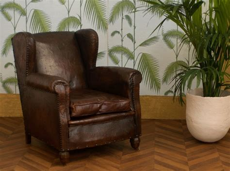 old armchair old english armchair vintage club armchair brown leather late xix century shabby