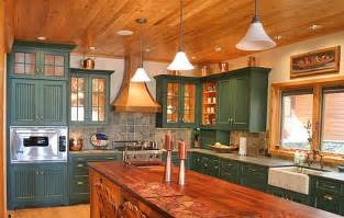 Kitchen Cabinets Painted Green Pictures Of Log Home Kitchens Fun Times Guide To Log Homes