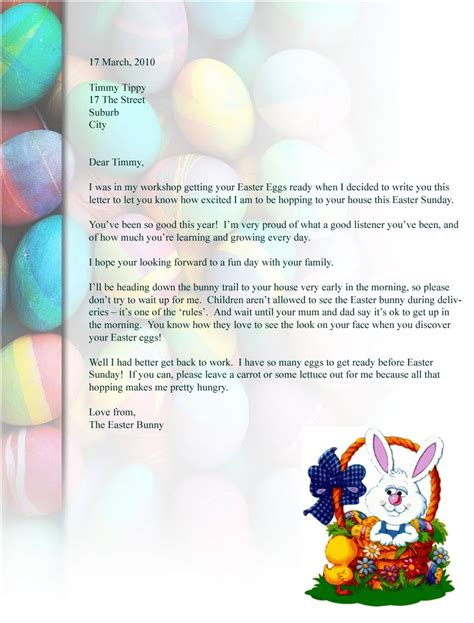 easter bunny letter a letter from easter bunny letter