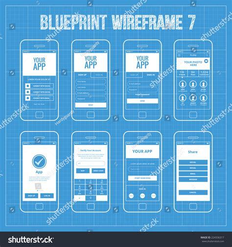 blueprint design app blueprint mobile app wireframe ui kit stock vector
