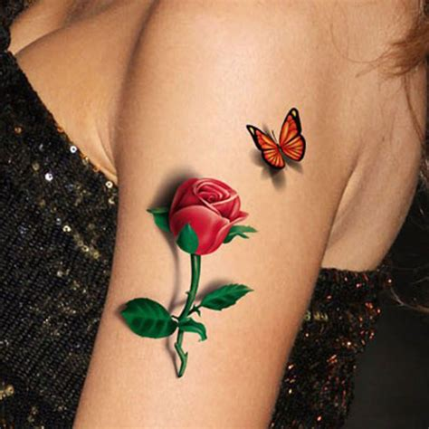 rose tattoo pic 1pcs 3d flower temporary