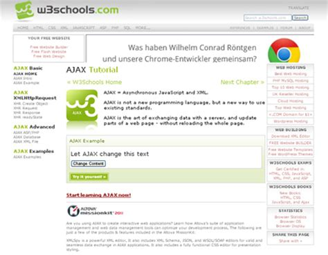 wordpress tutorial w3schools a list of 25 great websites to learn ajax blueblots com