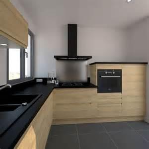 Delightful Deco Salon Et Cuisine Ouverte #7: Deco-cuisine-design-noire-et-bois.jpg