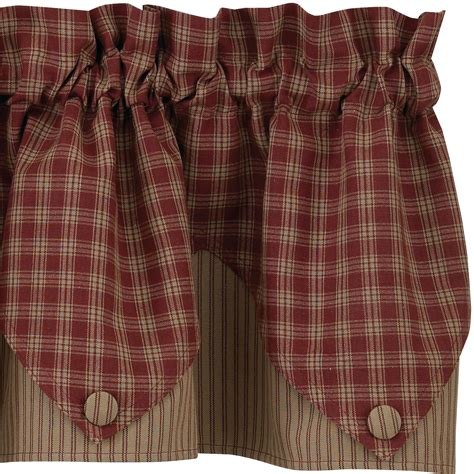 Plaid Valance sturbridge plaid lined point valance 72x15 black wine navy mustard or green ebay