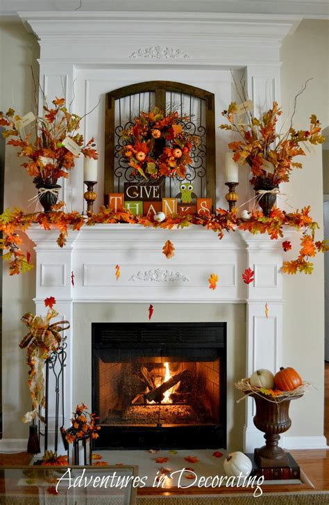 decorating fall adventures in decorating our fall mantel